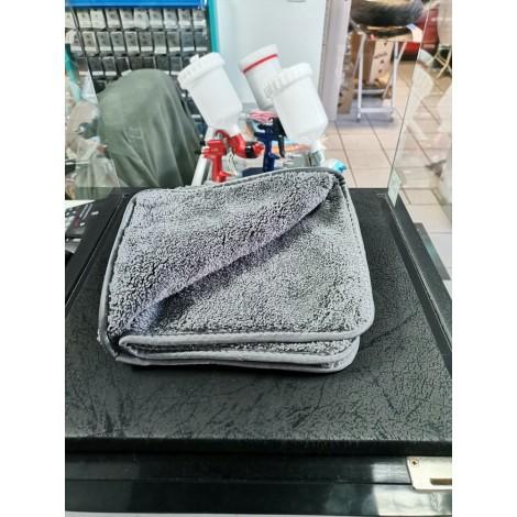 Микрофибърна ДВОЙНА кърпа мека за полиране 40x40cm СИВА