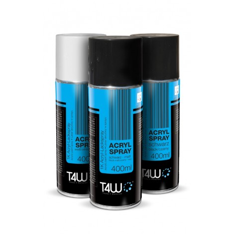 T4W Spray black acrylic paint gloss 400 ml