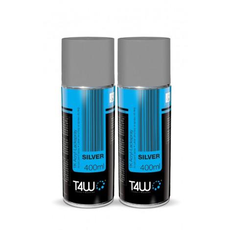 T4W Spray silver acrylic paint gloss / 400 ml