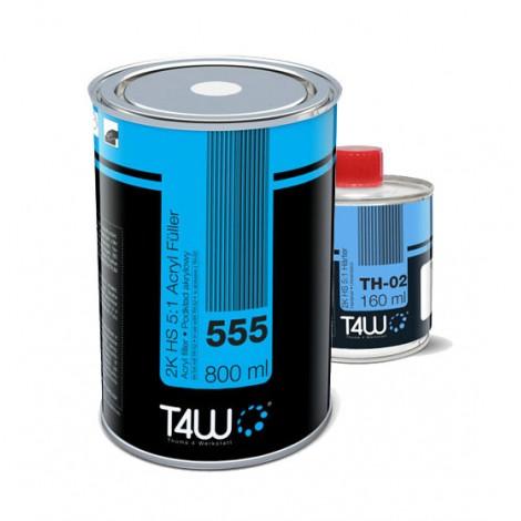 Set T4W 555 Акрилен Филер 5:1 2K Черен 0,8L + 0,16L hardener
